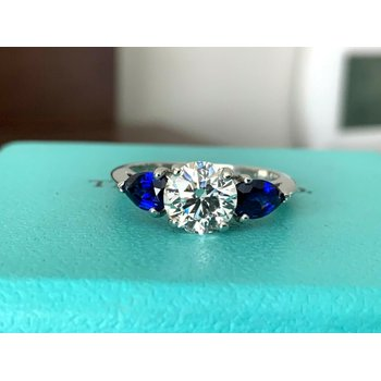 Tiffany Round 1.11 ct with Side Sapphires $20k NEW