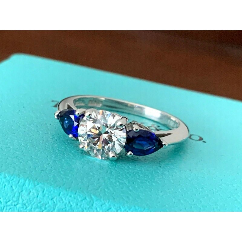 Pre-Loved Jewelry Tiffany Round 1.11 ct with Side Sapphires $20k NEW