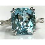 Pre-Loved Jewelry 9.63 ct Natural Aquamarine and Diamond Ring NEW $25k