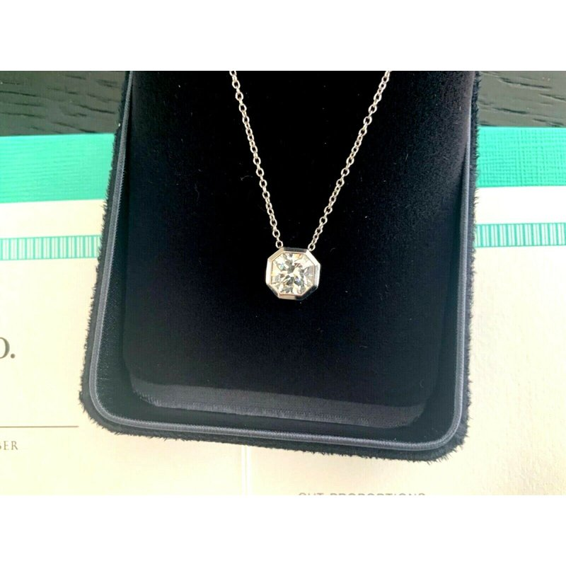 Pre-Loved Jewelry Tiffany LUCIDA 1.16 ct Pendant Solitaire Necklace 18k NEW