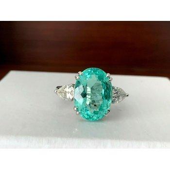 7.12 ct AGL Certified Bluish Green Paraiba Ring $35k Retail