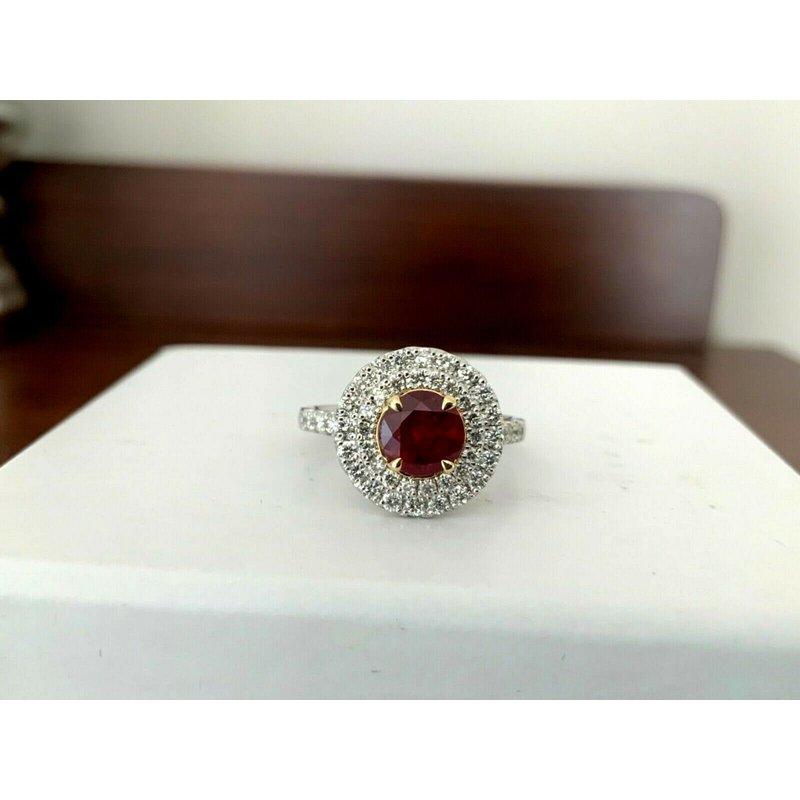 1.24 ct Burma Ruby and Diamond Ring $20k NEW