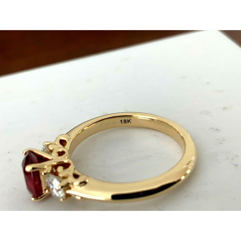 Pre-Loved Jewelry .99 ct GIA Certified Thai Ruby and Diamond Ring