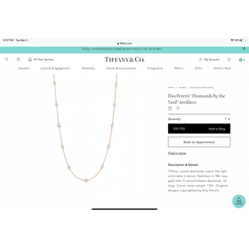 Tiffany Elsa Peretti 1.54 ct Diamond Necklace ROSE GOLD $11k NEW