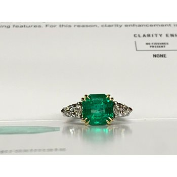 3.28 Columbian Emerald and Diamond Ring