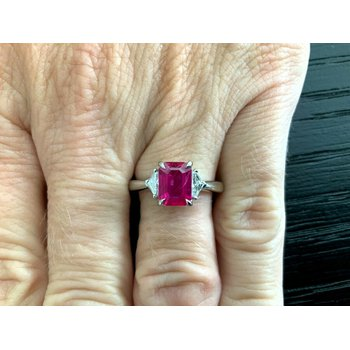 1.59 ct Natural Burma Ruby and Diamond Ring