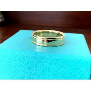 Tiffany Essential 6 mm Flat Milgrain 18k Gold Band NEW
