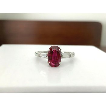2.04 ct 100% Natural Unheated Ruby and Diamond Ring