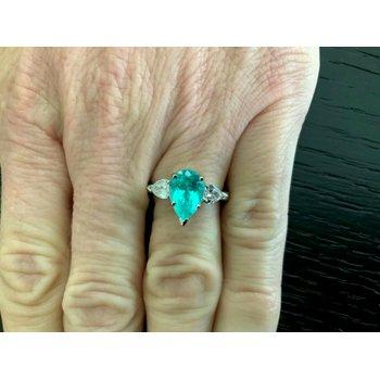 2.25 ct Brilliant Pear Pariaba Tourmaline with Diamonds