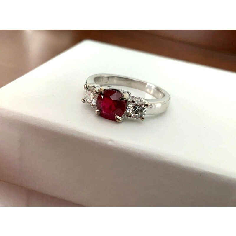 Pre-Loved Jewelry 1.13 Natural Burma VIVID RED RUBY and Diamond Ring