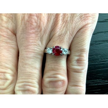 1.13 Natural Burma VIVID RED RUBY and Diamond Ring