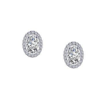 Sterling Silver Platinum Simulated Diamond Earrings