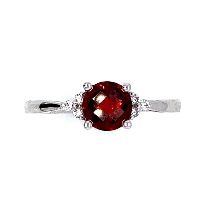 Bennett's Jewels 14KW Garnet & Diamond Ring