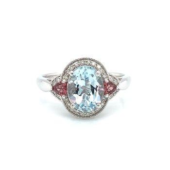 10KW Aquamarine, Pink Tourmaline & Diamond Ring