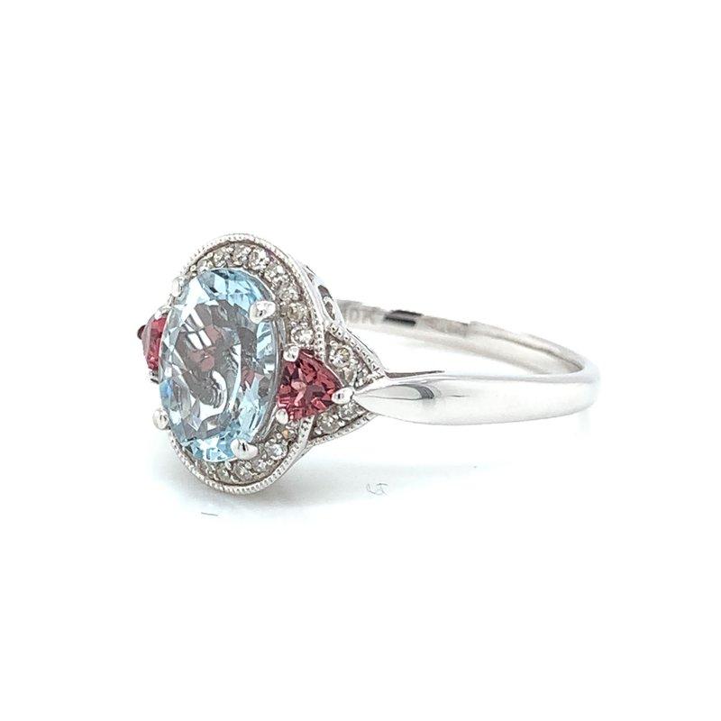 Bennett's Jewels 10KW Aquamarine, Pink Tourmaline & Diamond Ring
