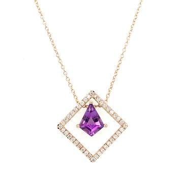 14KR Amethyst & Diamond Necklace