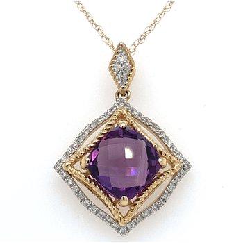 14KTT Amethyst & Diamond Necklace