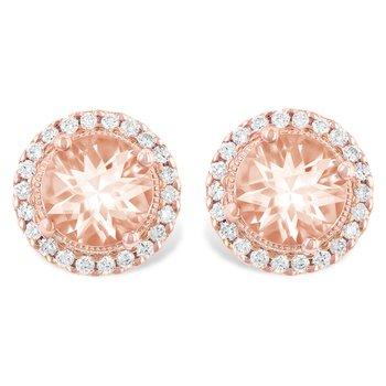 14KR Morganite & Diamond Earrings