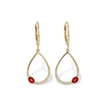 14KY Garnet & Diamond Earrings