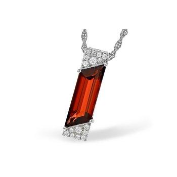 14KW Garnet & Diamond Necklace