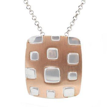 Sterling silver RG PL Square Necklace