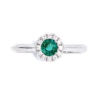 14KW Emerald & Diamond Ring