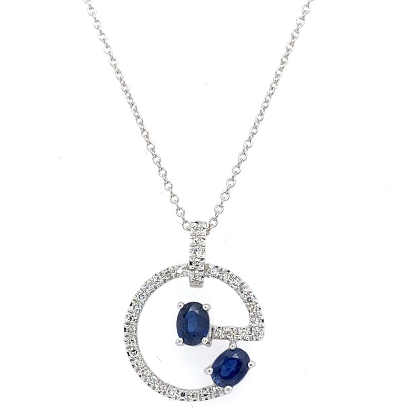 Bennett's Jewels 14KW Blue Sapphire & Diamond Necklace