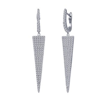 Sterling Silver Platinum Simulated Diamond Earrings