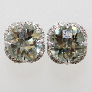 14KW Green Amethyst & Diamond Earrings