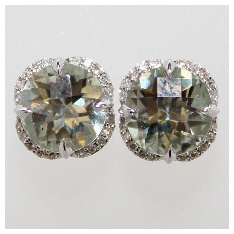 Bennett's Jewels 14KW Green Amethyst & Diamond Earrings