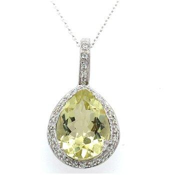 10K White Gold Lemon Quartz & Diamond Necklace