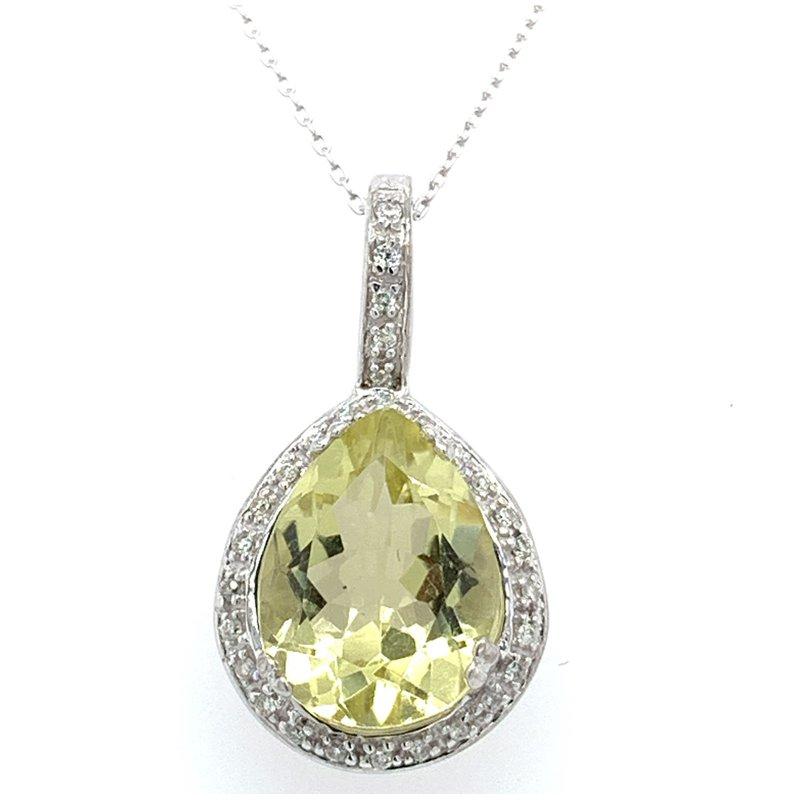Bennett's Jewels 10K White Gold Lemon Quartz & Diamond Necklace