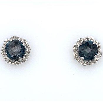 London Blue Topaz & Diamond Earrings
