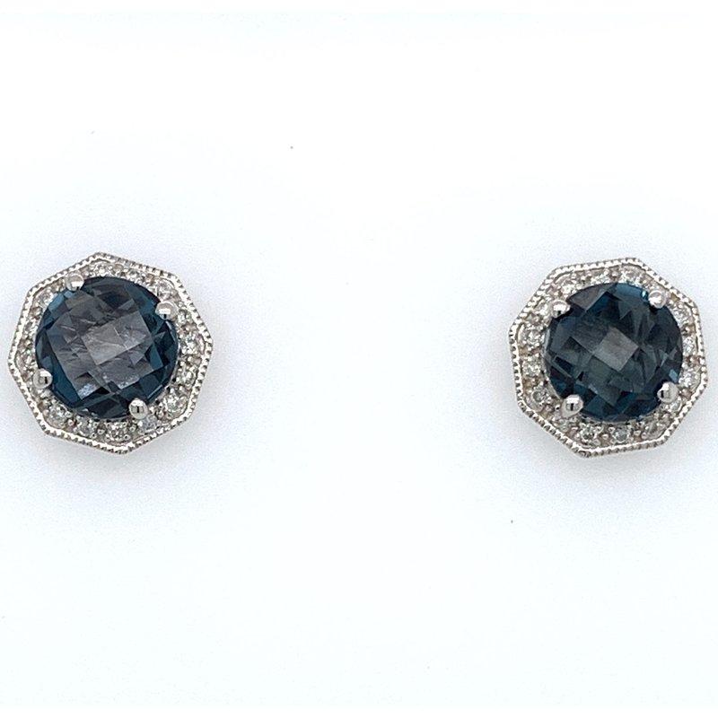 Bennett's Jewels London Blue Topaz & Diamond Earrings