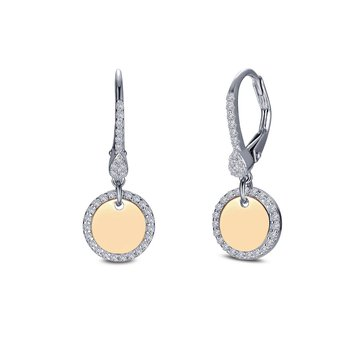 Sterling Silver 18KY Simulated Diamond Earrings