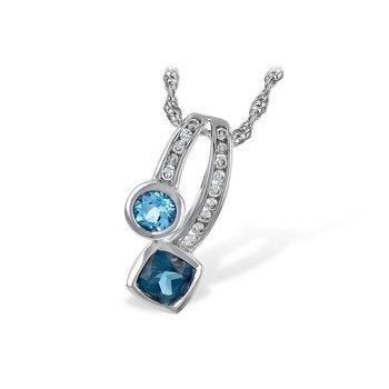 14KW Blue Topaz & Diamond Necklace