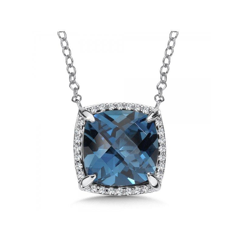 Bennett's Jewels 14KW London Blue Topaz & Diamond Necklace