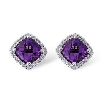 14KW Amethyst & Diamond Earrings