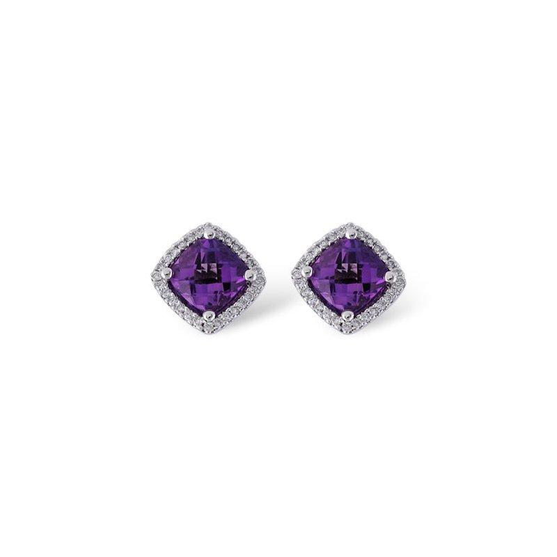 Bennett's Jewels 14KW Amethyst & Diamond Earrings