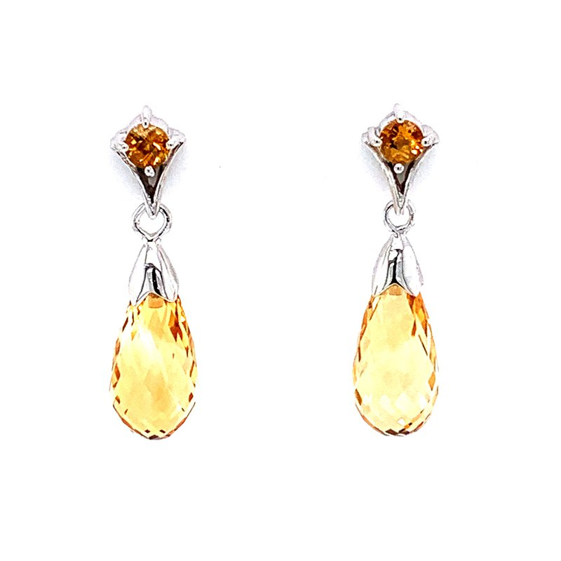 Bennett's Jewels 14KW Citrine Earrings