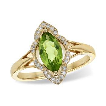 14KY Peridot & Diamond Ring