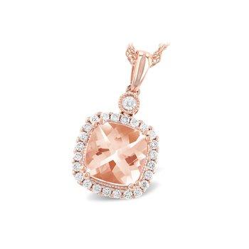 14KW Morganite & Diamond Necklace