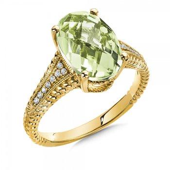 14KY Green Amethyst & Diamond Ring