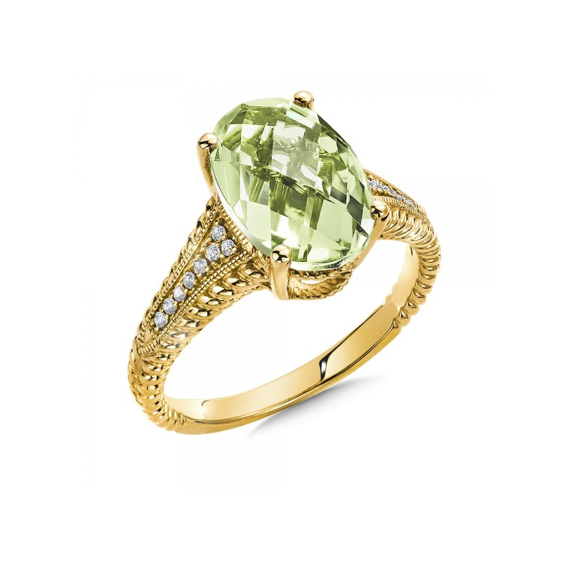 Bennett's Jewels 14KY Green Amethyst & Diamond Ring