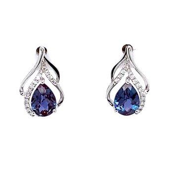 14KW Created Alexandrite Earrings