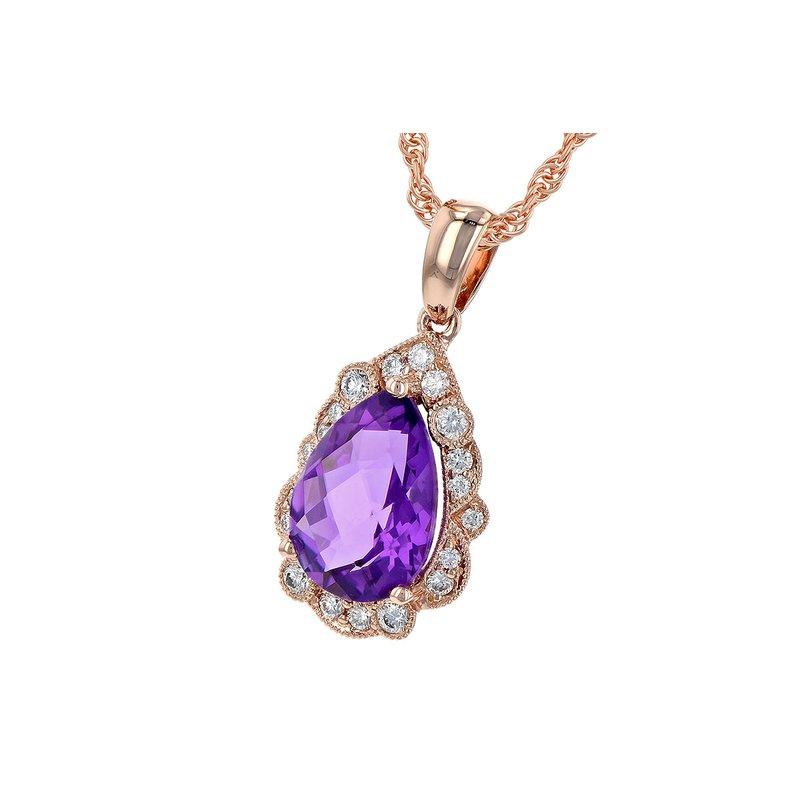 Bennett's Jewels 14KR Amethyst & Diamond Necklace