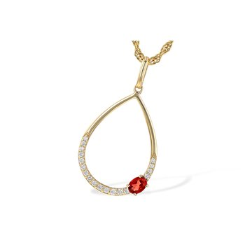 14KY Garnet & Diamond Necklace