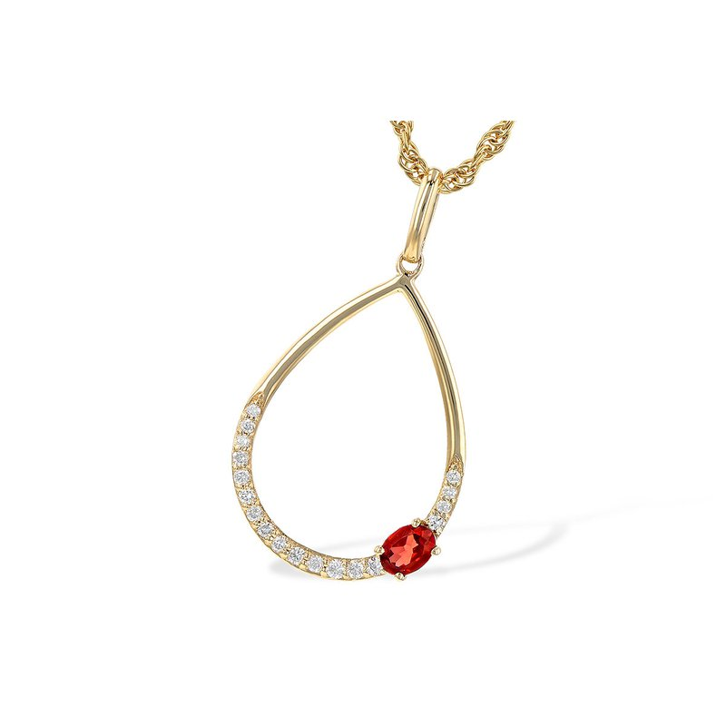 Bennett's Jewels 14KY Garnet & Diamond Necklace