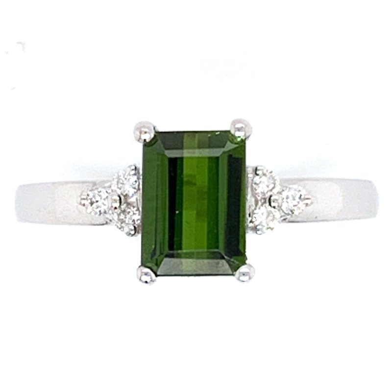 Bennett's Jewels 14KW Green Tourmaline & Diamond Ring