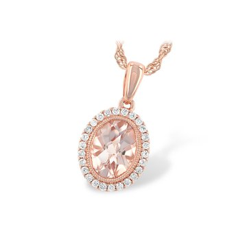 14KR Morganite & Diamond Necklace
